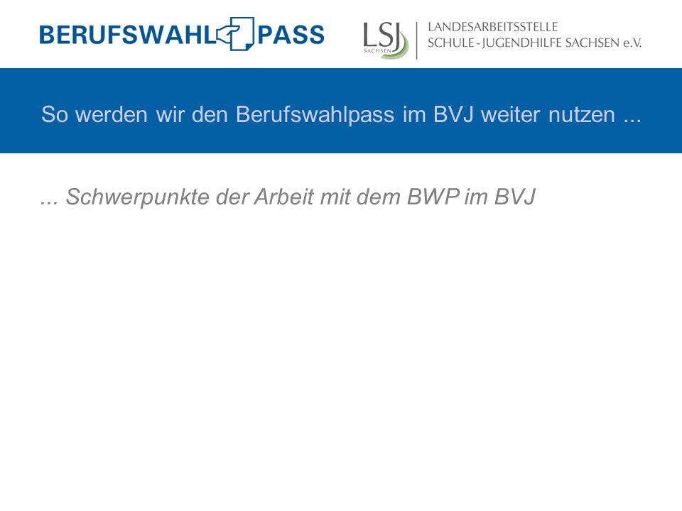 So werden wir den Berufswahlpass im BVJ weiter nutzen......
