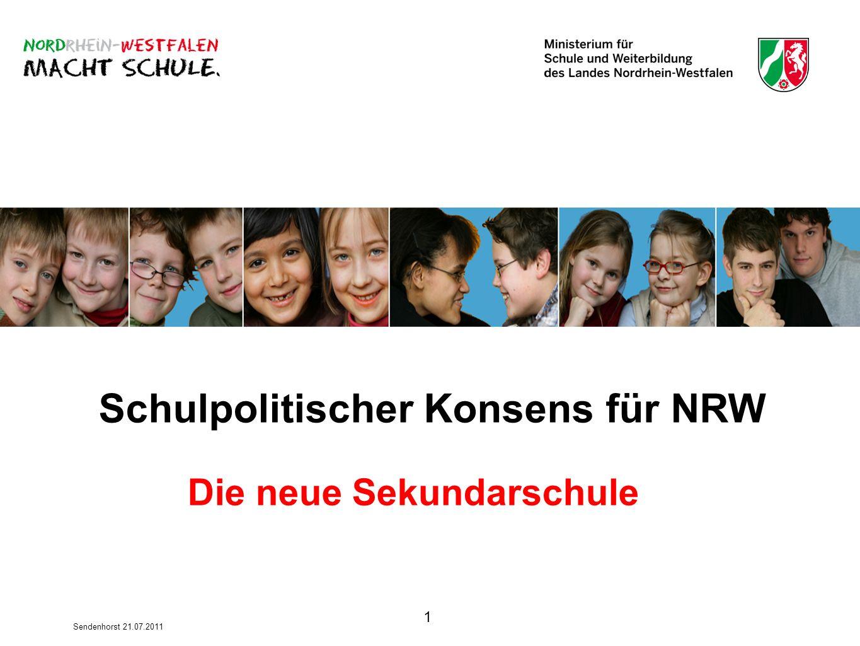 1 Sendenhorst 21.07.2011 Schulpolitischer Konsens für NRW Die neue Sekundarschule
