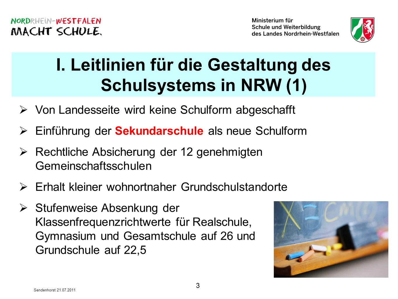 3 Sendenhorst 21.07.2011 I. Leitlinien für die Gestaltung des Schulsystems in NRW (1) Von Landesseite wird keine Schulform abgeschafft Einführung der