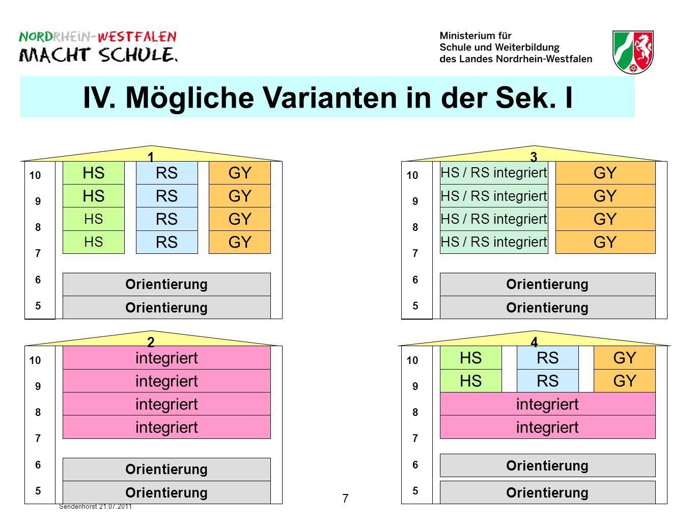 7 Sendenhorst 21.07.2011 IV. Mögliche Varianten in der Sek. I HS 10 9 8 7 6 5 10 9 8 7 6 5 10 9 8 7 6 5 10 9 8 7 6 5 HS RS GY RSGY RS GY HS GY RS GYRS
