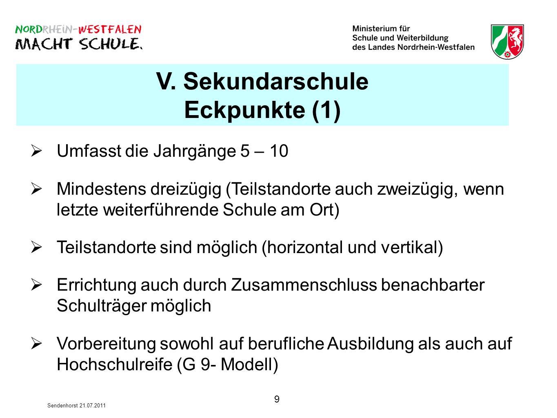 9 Sendenhorst 21.07.2011 V. Sekundarschule Eckpunkte (1) Umfasst die Jahrgänge 5 – 10 Mindestens dreizügig (Teilstandorte auch zweizügig, wenn letzte