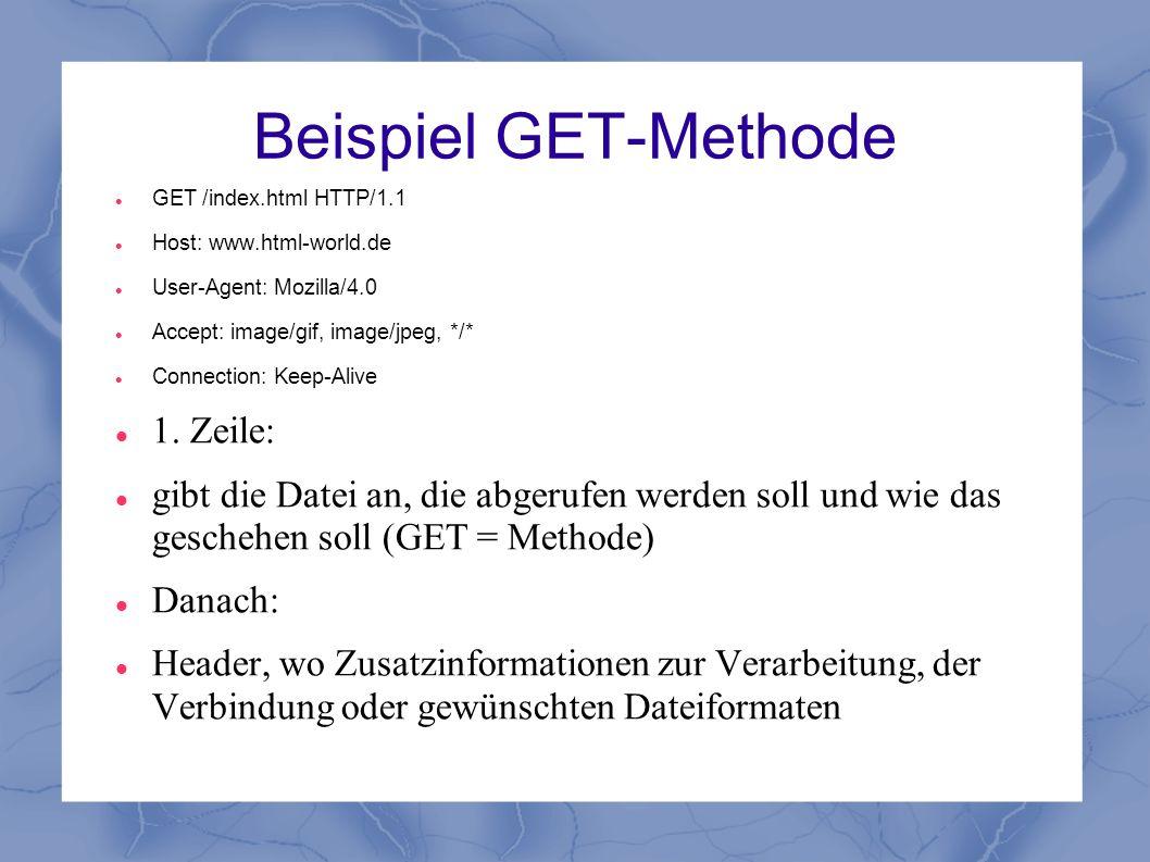 Beispiel GET-Methode GET /index.html HTTP/1.1 Host: www.html-world.de User-Agent: Mozilla/4.0 Accept: image/gif, image/jpeg, */* Connection: Keep-Aliv