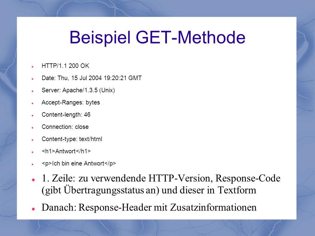 Beispiel GET-Methode HTTP/1.1 200 OK Date: Thu, 15 Jul 2004 19:20:21 GMT Server: Apache/1.3.5 (Unix) Accept-Ranges: bytes Content-length: 46 Connectio