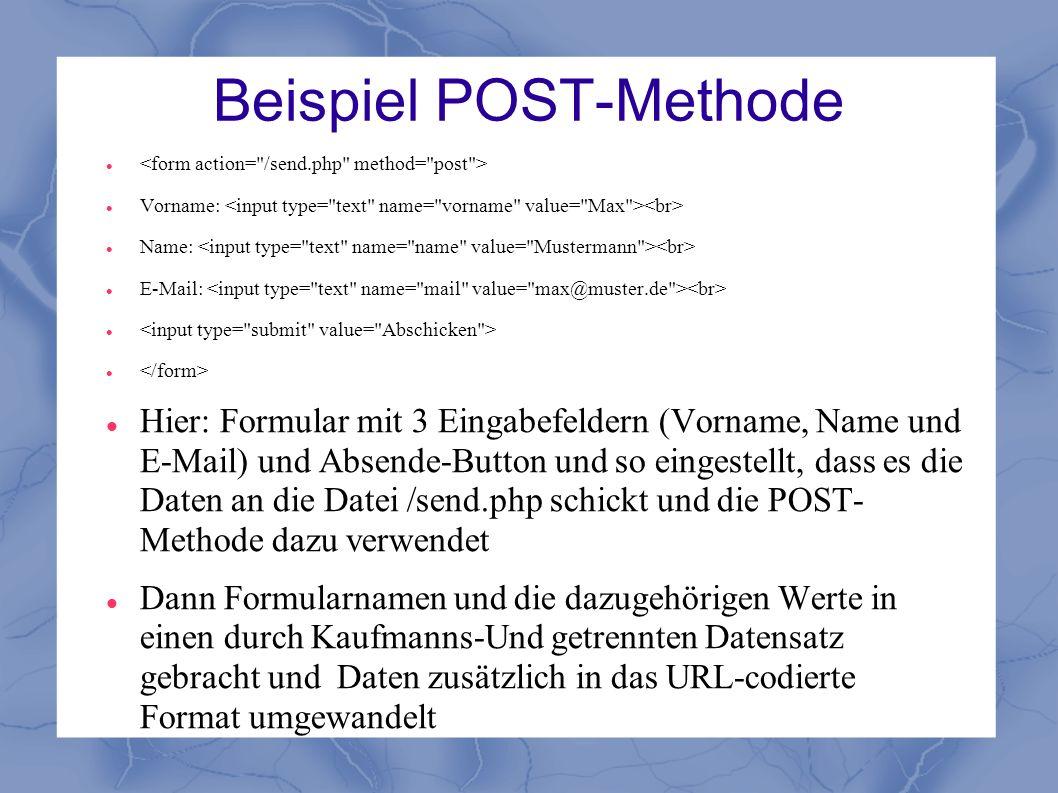 Beispiel POST-Methode Vorname: Name: E-Mail: Hier: Formular mit 3 Eingabefeldern (Vorname, Name und E-Mail) und Absende-Button und so eingestellt, das