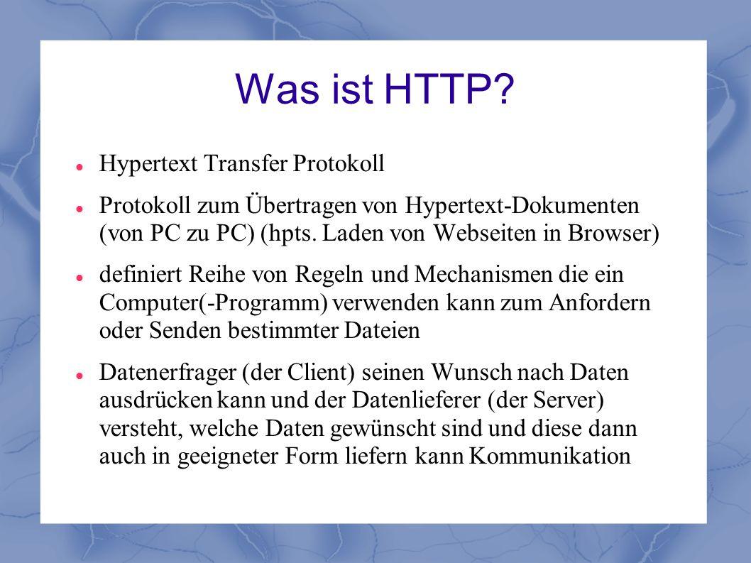 Was ist HTTP? Hypertext Transfer Protokoll Protokoll zum Übertragen von Hypertext-Dokumenten (von PC zu PC) (hpts. Laden von Webseiten in Browser) def