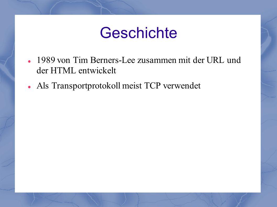Geschichte 1989 von Tim Berners-Lee zusammen mit der URL und der HTML entwickelt Als Transportprotokoll meist TCP verwendet