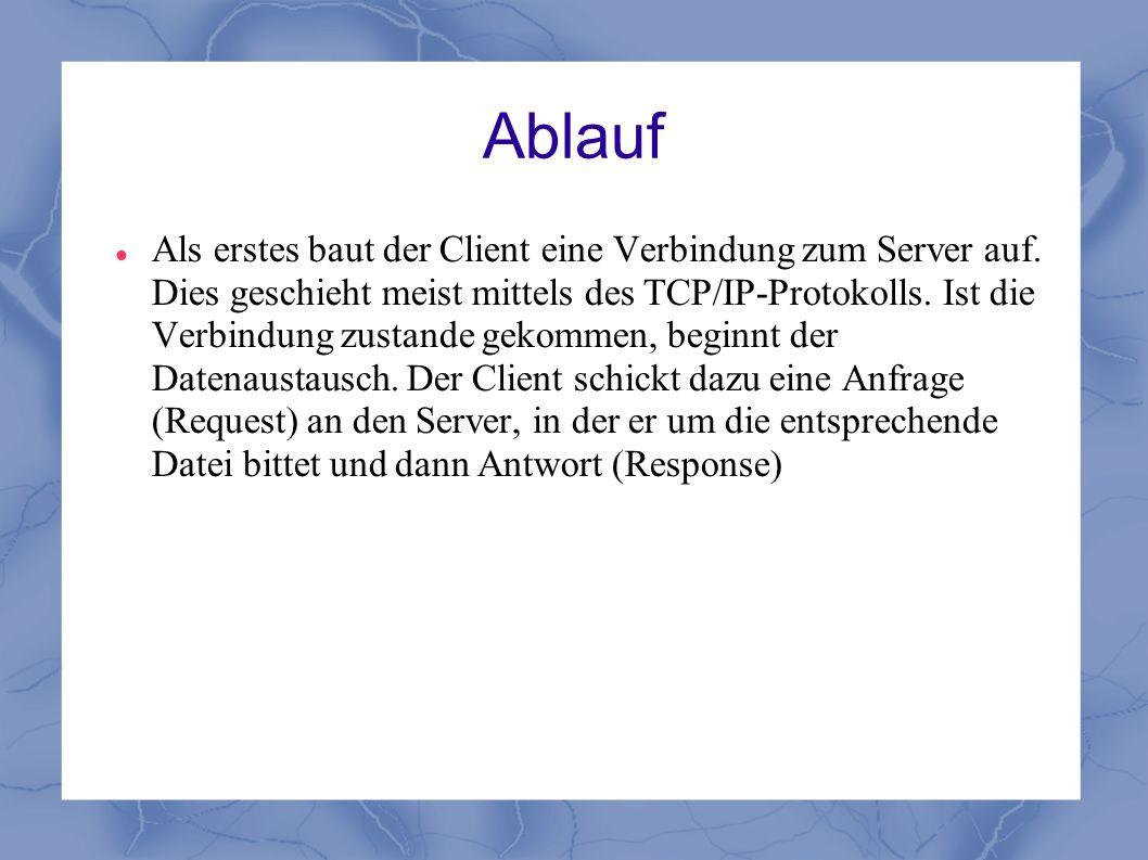 Ablauf Als erstes baut der Client eine Verbindung zum Server auf. Dies geschieht meist mittels des TCP/IP-Protokolls. Ist die Verbindung zustande geko