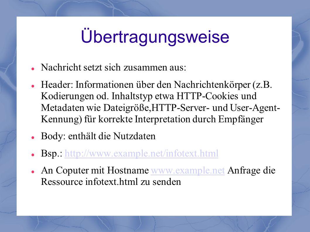 Übertragungsweise Nachricht setzt sich zusammen aus: Header: Informationen über den Nachrichtenkörper (z.B. Kodierungen od. Inhaltstyp etwa HTTP-Cooki