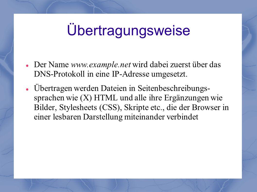 Übertragungsweise Der Name www.example.net wird dabei zuerst über das DNS-Protokoll in eine IP-Adresse umgesetzt. Übertragen werden Dateien in Seitenb
