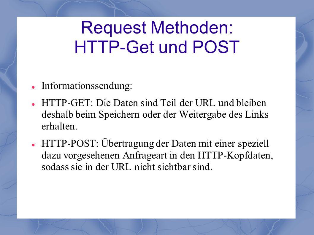 Request Methoden: HTTP-Get und POST Informationssendung: HTTP-GET: Die Daten sind Teil der URL und bleiben deshalb beim Speichern oder der Weitergabe
