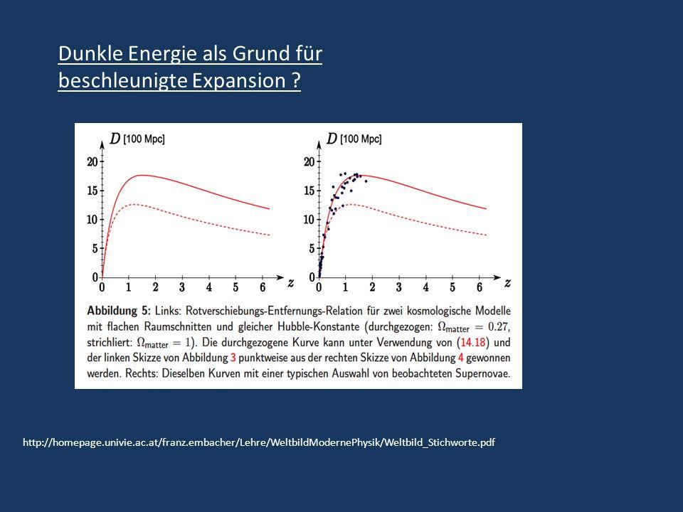 http://homepage.univie.ac.at/franz.embacher/Lehre/WeltbildModernePhysik/Weltbild_Stichworte.pdf Dunkle Energie als Grund für beschleunigte Expansion