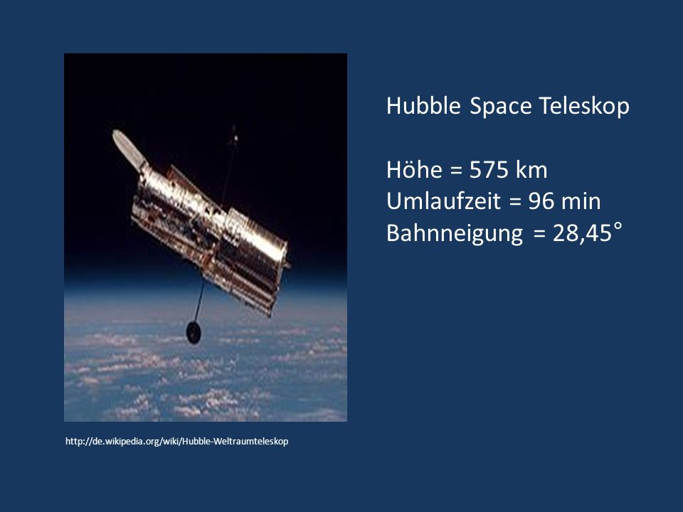 Quellen Mission Hubble, Simon Goodwin Der Ursprung des Universums, John Gribbin/ Simon Goodwin Verborgenes Universum, Lars Lindberg Christensen, Robert Fosbury, Robert Hurt http://hubble.nasa.gov/technology/optics.php http://hubblesite.org/gallery/album/pr1998018b/ http://hubblesite.org/gallery/behind_the_pictures/meaning_of_color/tool.php http://www.spacetelescope.org/static/archives/brochures/pdf/hubble.pdf, Broschüre The Hubble Space Telescope ESA, Lars Lindberg Christensen http://www.spacetelescope.org/static/archives/brochures/pdf/hubble.pdf http://hubblesite.org/hubble_discoveries/dark_energy/ http://hubblesite.org/gallery/album/pr1999019i/ http://spacetelescope.org/images/html/heic0821a.html http://homepage.univie.ac.at/franz.embacher/Lehre/WeltbildModernePhysik/Weltbild_Stichworte.pdf, Weltbild der modernen Physik: Relativistische Astrophysik und Kosmologie Skriptum,SS 2010,Franz Embacher http://homepage.univie.ac.at/franz.embacher/Lehre/WeltbildModernePhysik/Weltbild_Stichworte.pdf http://de.wikipedia.org/w/index.php?title=Datei:Gravitationslinse.gif&filetimestamp=20031120013957 http://amazing-space.stsci.edu/resources/explorations/groundup/lesson/basics/g17b/, Chandra mission website and Space Telescope Science Institute http://www.spacetelescope.org/images/heic0704a/ http://www.univie.ac.at/pluslucis/PlusLucis/991/a4.pdf, Das Hubble-Weltraumteleskop.Neue Perspektiven für die Astronomie – Teil 1, Karl-Heinz Lotze http://www.univie.ac.at/pluslucis/PlusLucis/991/a4.pdf http://www.univie.ac.at/pluslucis/PlusLucis/992/s007.pdf, Das Hubble-Weltraumteleskop.Neue Perspektiven für die Astronomie – Teil 2, Karl-Heinz Lotze (Zugriffsdatum der Internetadressen Oktober/November 2010)