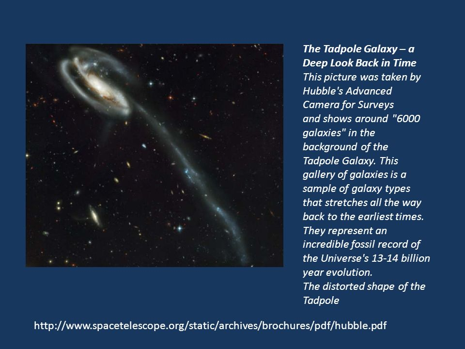 The Tadpole Galaxy – a Deep Look Back in Time This picture was taken by Hubble's Advanced Camera for Surveys and shows around