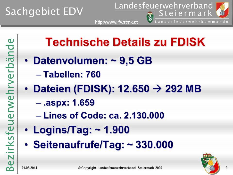 Bezirksfeuerwehrverbände http://www.lfv.stmk.at Sachgebiet EDV Technische Details zu FDISK 21.05.2014© Copyright Landesfeuerwehrverband Steiermark 200