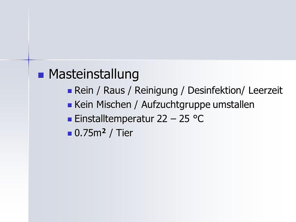 Masteinstallung Masteinstallung Rein / Raus / Reinigung / Desinfektion/ Leerzeit Rein / Raus / Reinigung / Desinfektion/ Leerzeit Kein Mischen / Aufzuchtgruppe umstallen Kein Mischen / Aufzuchtgruppe umstallen Einstalltemperatur 22 – 25 °C Einstalltemperatur 22 – 25 °C 0.75m 2 / Tier 0.75m 2 / Tier