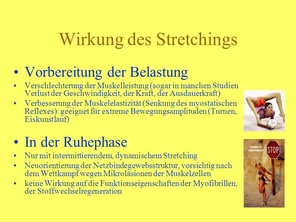 Wirkung des Stretchings Vorbereitung der Belastung Verschlechterung der Muskelleistung (sogar in manchen Studien Verlust der Geschwindigkeit, der Kraf
