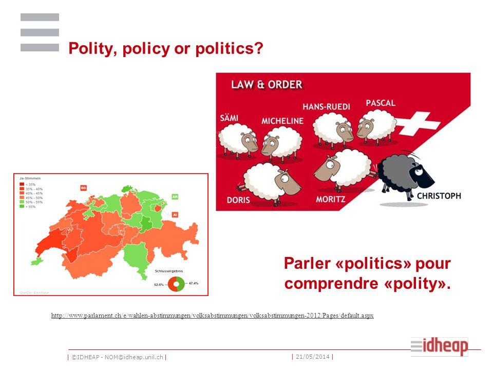 | ©IDHEAP - NOM@idheap.unil.ch | | 21/05/2014 | Polity, policy or politics.