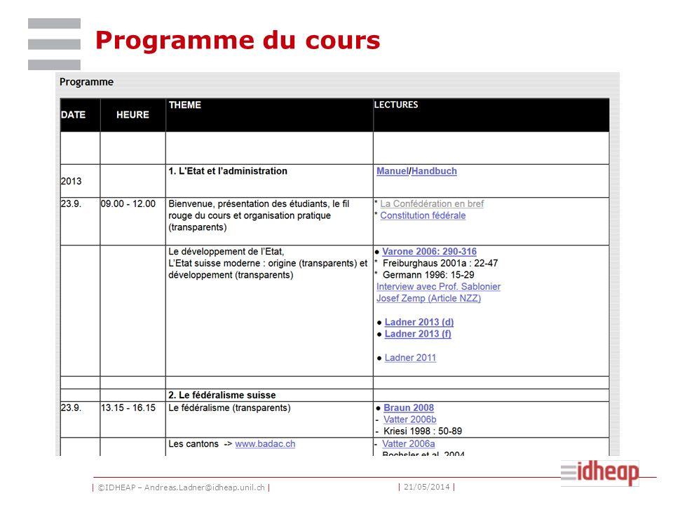 | ©IDHEAP – Andreas.Ladner@idheap.unil.ch | | 21/05/2014 | Programme du cours