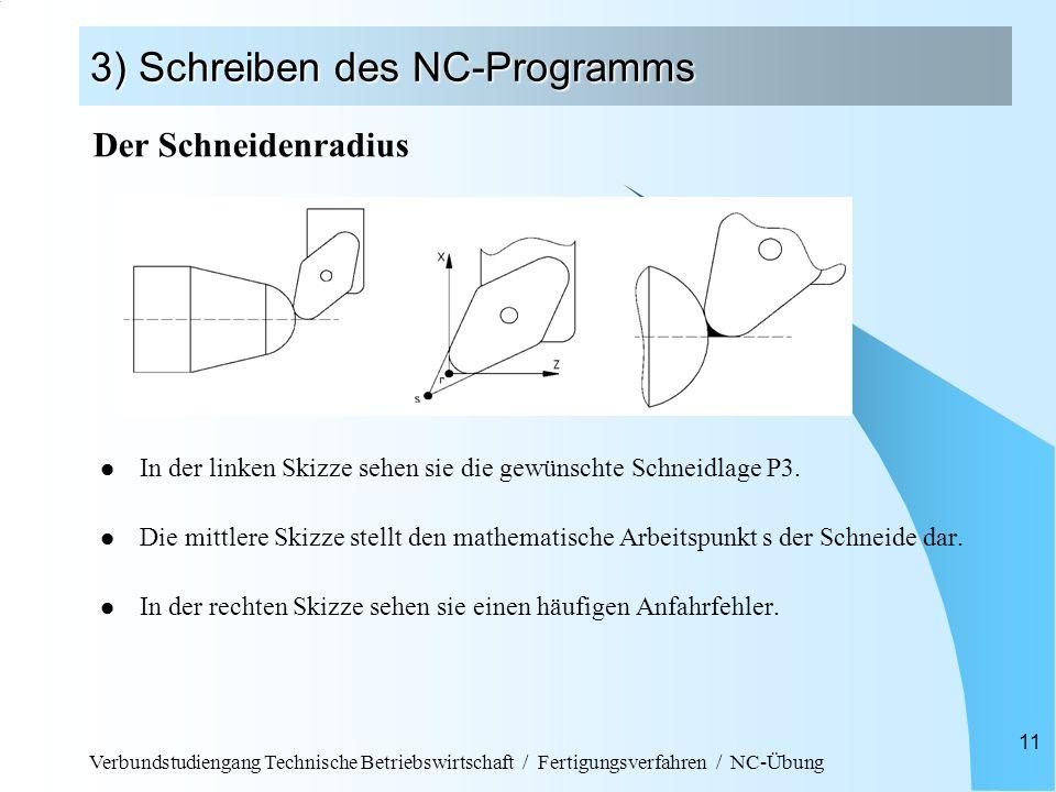Verbundstudiengang Technische Betriebswirtschaft / Fertigungsverfahren / NC-Übung 11 3) Schreiben des NC-Programms In der linken Skizze sehen sie die gewünschte Schneidlage P3.