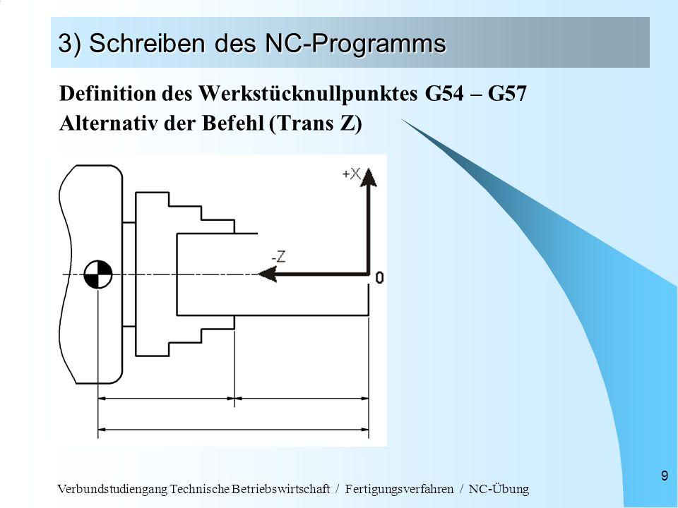 Verbundstudiengang Technische Betriebswirtschaft / Fertigungsverfahren / NC-Übung 10 3) Schreiben des NC-Programms Ausgesuchte Maschinenbefehle: G54 Beispiel für Nullpunktverschiebung T 3 D1Beispiel für Werkzeugwahl an Position 3 G96 S150 Konstante Schnittgeschwindigkeit n = variabel F 0.6 Beispiel für Vorschubgeschwindigkeit in mm/U M03 bzw.