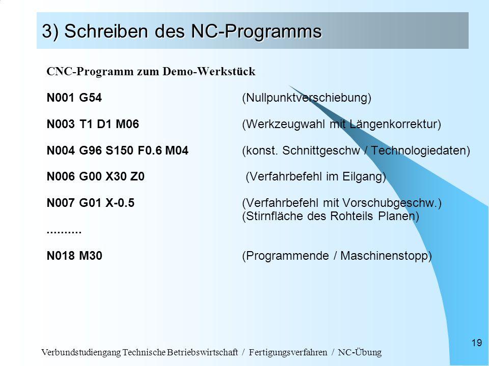 Verbundstudiengang Technische Betriebswirtschaft / Fertigungsverfahren / NC-Übung 19 3) Schreiben des NC-Programms CNC-Programm zum Demo-Werkstück N001 G54(Nullpunktverschiebung) N003 T1 D1 M06 (Werkzeugwahl mit Längenkorrektur) N004 G96 S150 F0.6 M04 (konst.