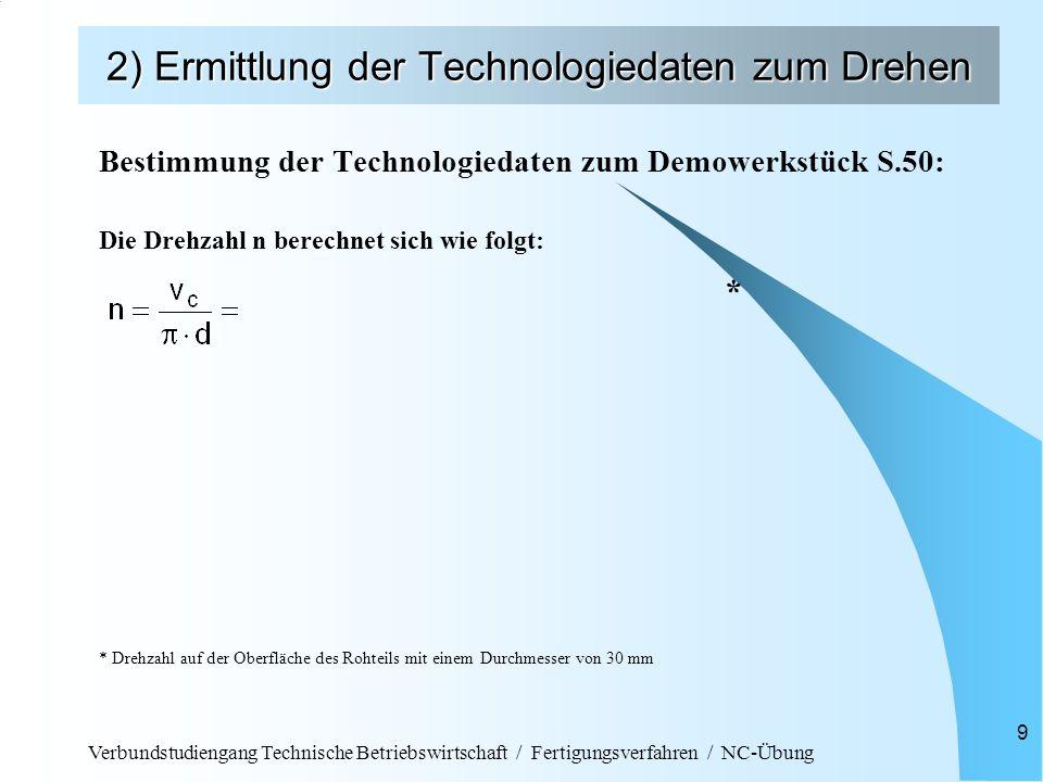 Verbundstudiengang Technische Betriebswirtschaft / Fertigungsverfahren / NC-Übung 9 2) Ermittlung der Technologiedaten zum Drehen Bestimmung der Technologiedaten zum Demowerkstück S.50: Die Drehzahl n berechnet sich wie folgt: * * Drehzahl auf der Oberfläche des Rohteils mit einem Durchmesser von 30 mm