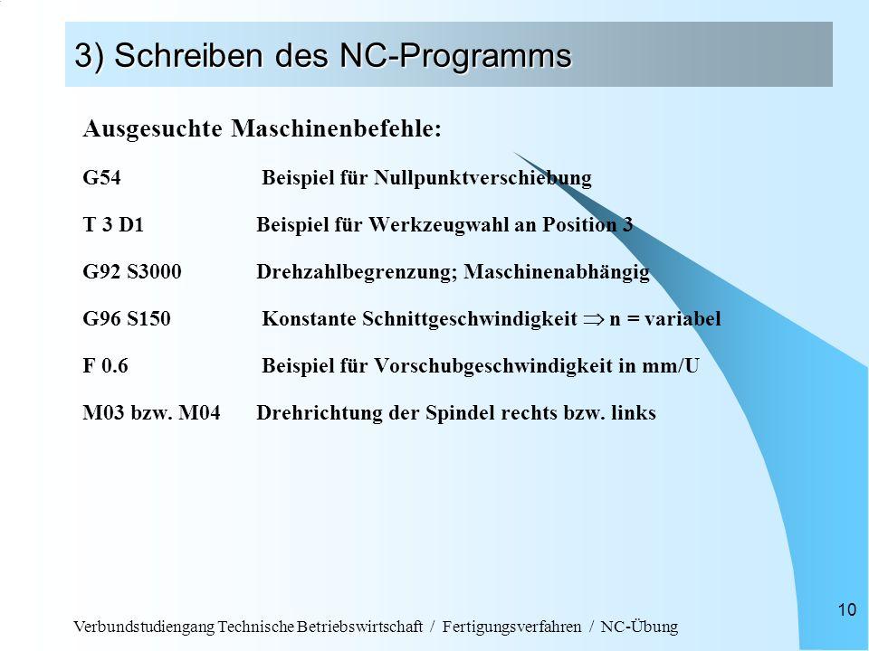 Verbundstudiengang Technische Betriebswirtschaft / Fertigungsverfahren / NC-Übung 10 3) Schreiben des NC-Programms Ausgesuchte Maschinenbefehle: G54 B
