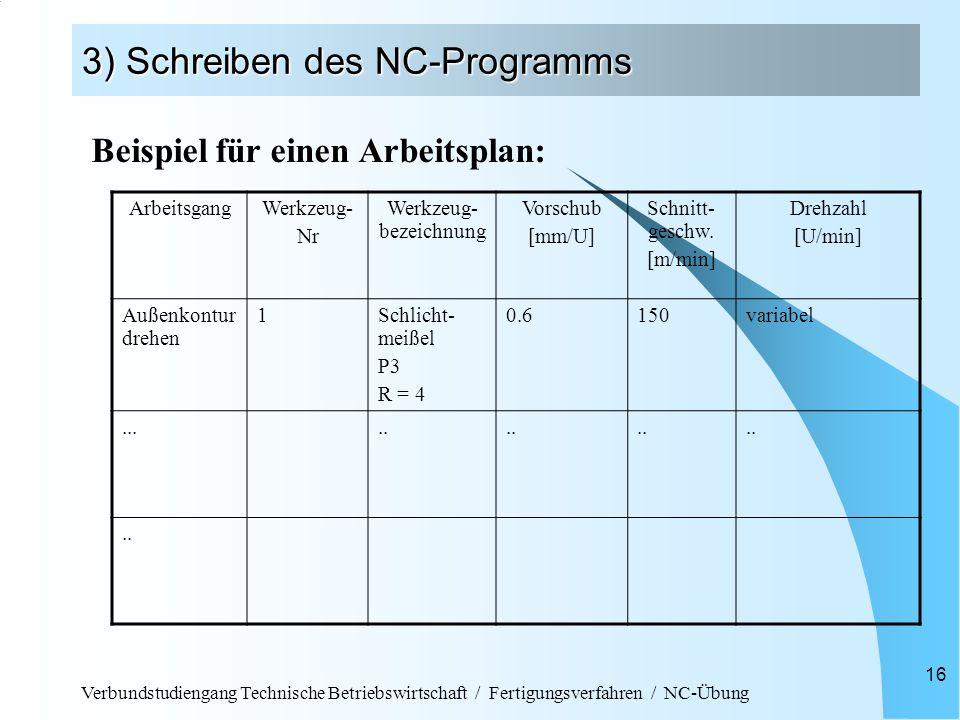 Verbundstudiengang Technische Betriebswirtschaft / Fertigungsverfahren / NC-Übung 16 3) Schreiben des NC-Programms Beispiel für einen Arbeitsplan: Arb