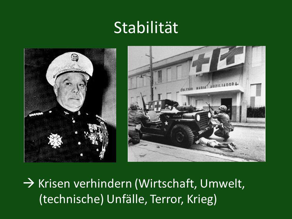 Stabilität Krisen verhindern (Wirtschaft, Umwelt, (technische) Unfälle, Terror, Krieg)