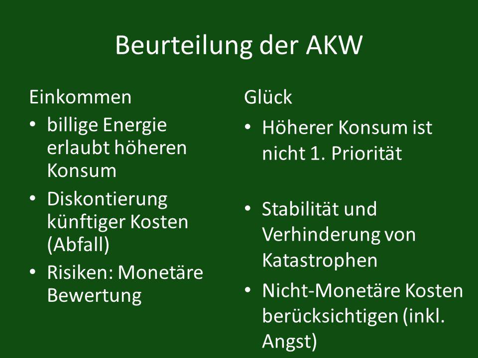 Beurteilung der AKW Einkommen billige Energie erlaubt höheren Konsum Diskontierung künftiger Kosten (Abfall) Risiken: Monetäre Bewertung Glück Höherer