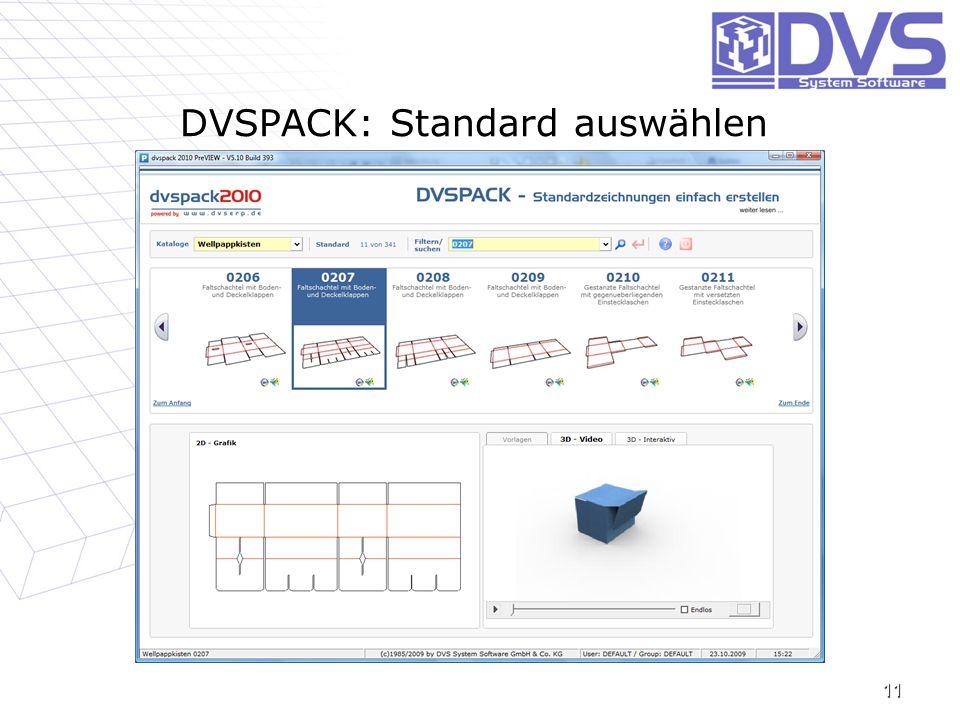 DVSPACK: Standard auswählen 11