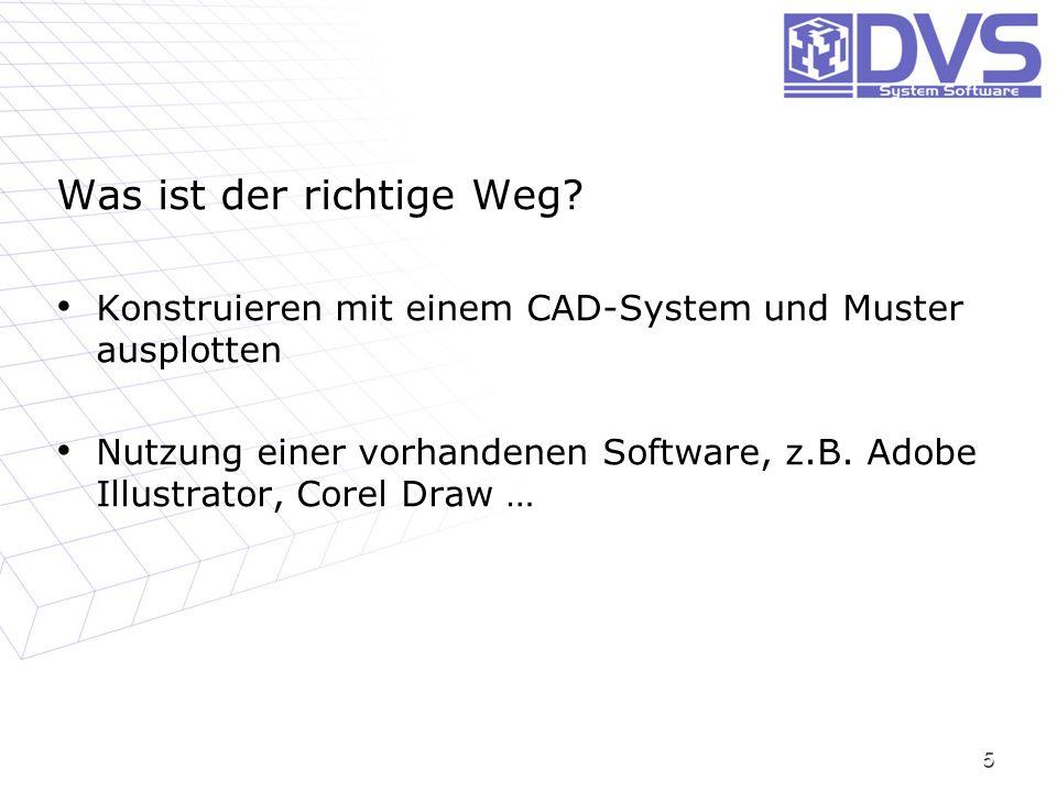 5 Was ist der richtige Weg? Konstruieren mit einem CAD-System und Muster ausplotten Konstruieren mit einem CAD-System und Muster ausplotten Nutzung ei