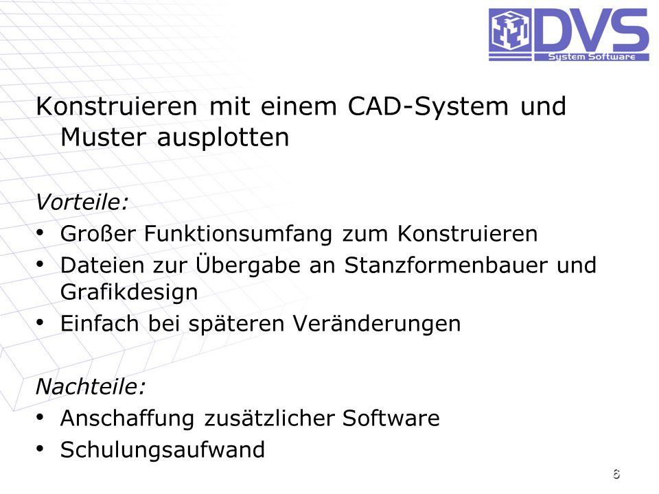 6 Konstruieren mit einem CAD-System und Muster ausplotten Vorteile: Großer Funktionsumfang zum Konstruieren Großer Funktionsumfang zum Konstruieren Da