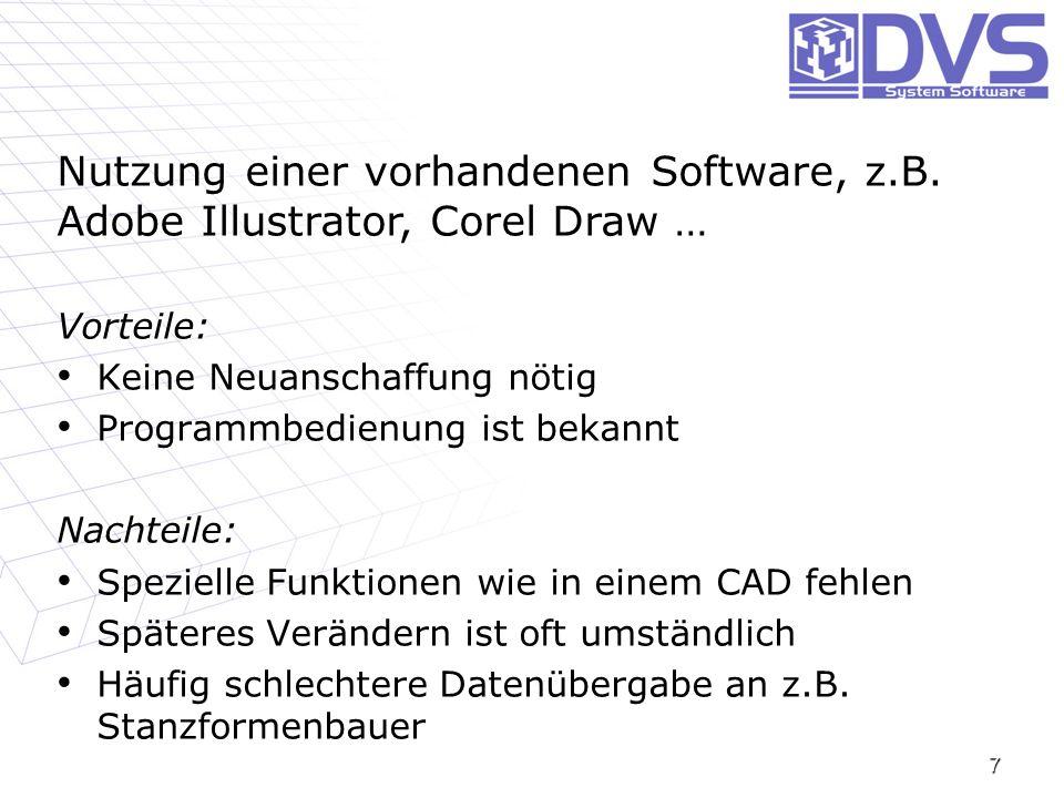 7 Nutzung einer vorhandenen Software, z.B. Adobe Illustrator, Corel Draw … Vorteile: Keine Neuanschaffung nötig Keine Neuanschaffung nötig Programmbed