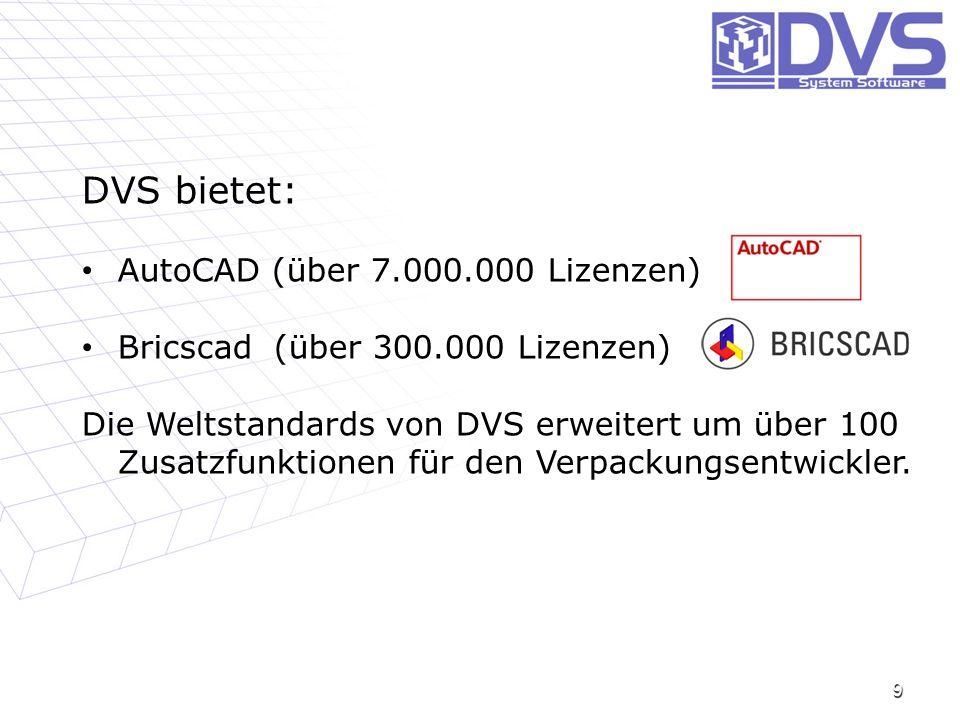 9 DVS bietet: AutoCAD (über 7.000.000 Lizenzen) AutoCAD (über 7.000.000 Lizenzen) Bricscad (über 300.000 Lizenzen) Bricscad (über 300.000 Lizenzen) Di