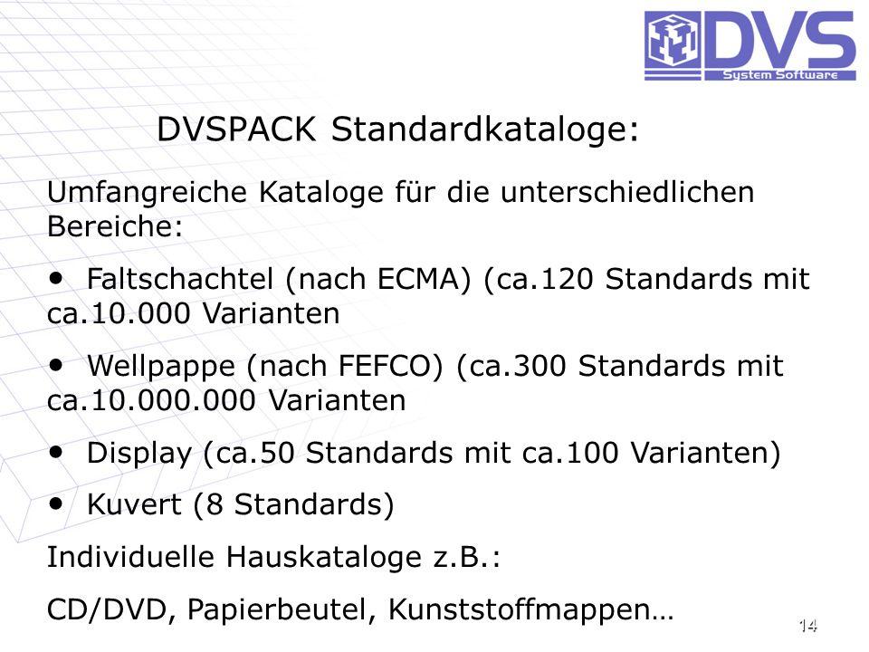 DVSPACK Standardkataloge: 14 Umfangreiche Kataloge für die unterschiedlichen Bereiche: Faltschachtel (nach ECMA) (ca.120 Standards mit ca.10.000 Varia