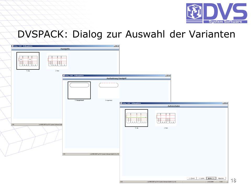 DVSPACK: Dialog zur Auswahl der Varianten 18