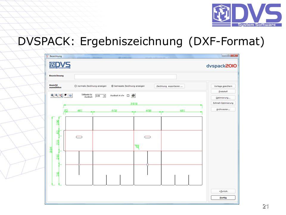 21 DVSPACK: Ergebniszeichnung (DXF-Format)