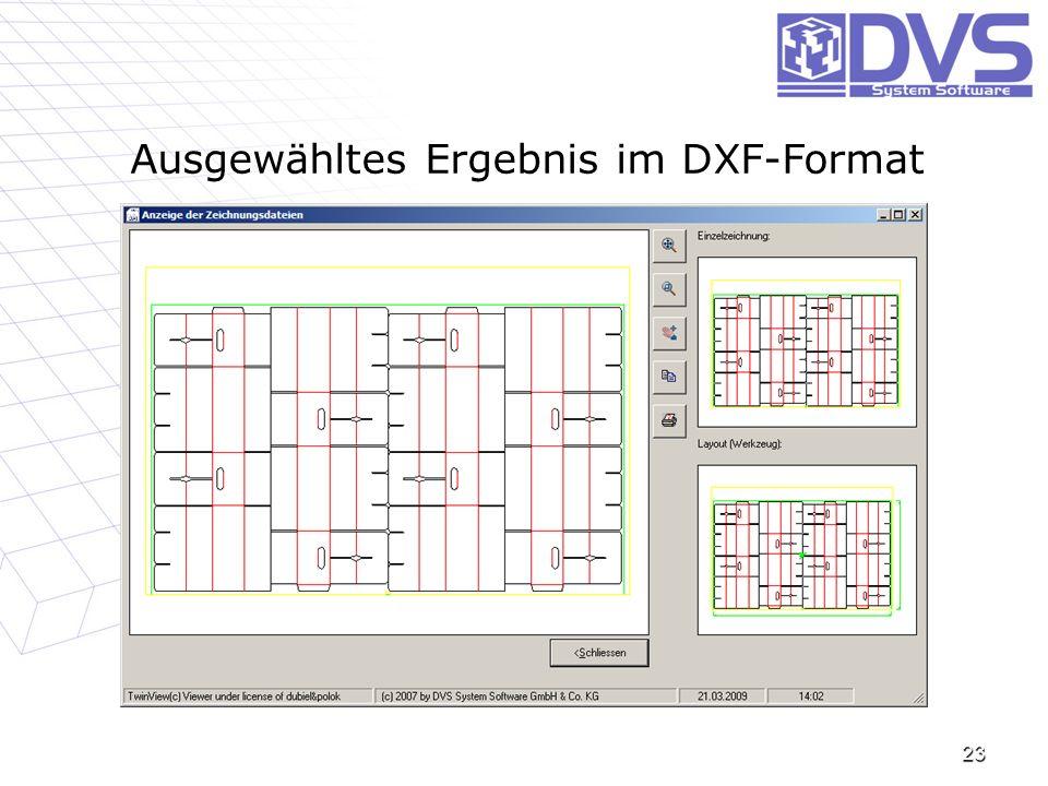 23 Ausgewähltes Ergebnis im DXF-Format