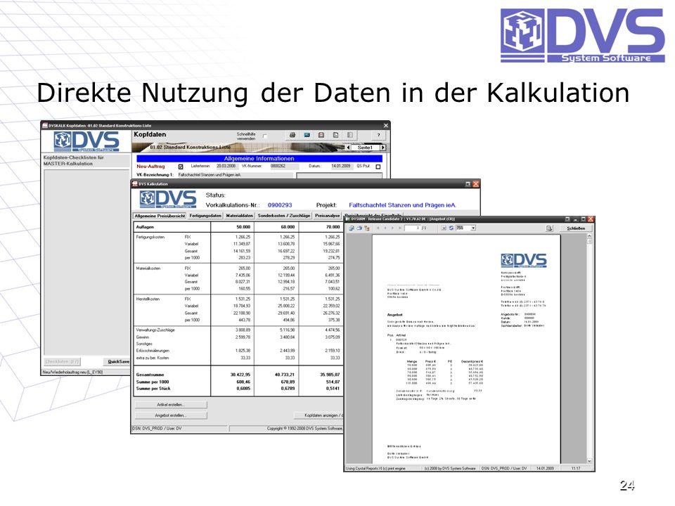 Direkte Nutzung der Daten in der Kalkulation 24