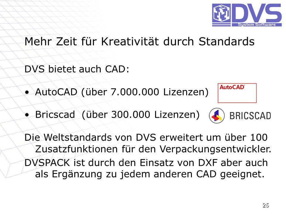 25 Mehr Zeit für Kreativität durch Standards DVS bietet auch CAD: AutoCAD (über 7.000.000 Lizenzen)AutoCAD (über 7.000.000 Lizenzen) Bricscad (über 30