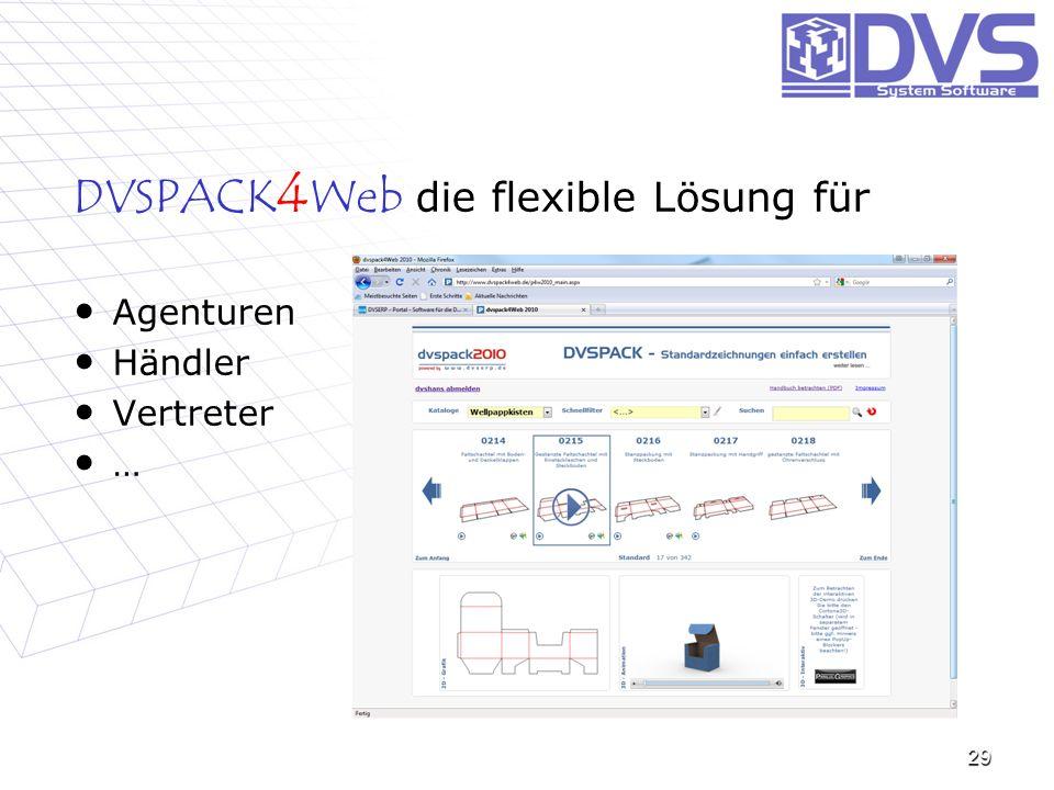 die flexible Lösung für DVSPACK 4 Web die flexible Lösung für Agenturen Agenturen Händler Händler Vertreter Vertreter … 29