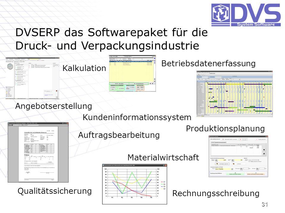 31 DVSERP das Softwarepaket für die Druck- und Verpackungsindustrie Kalkulation Rechnungsschreibung Materialwirtschaft Qualitätssicherung Betriebsdate