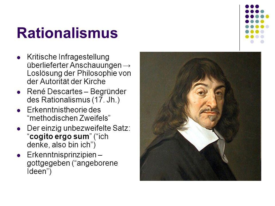 Rationalismus Kritische Infragestellung überlieferter Anschauungen Loslösung der Philosophie von der Autorität der Kirche René Descartes – Begründer d