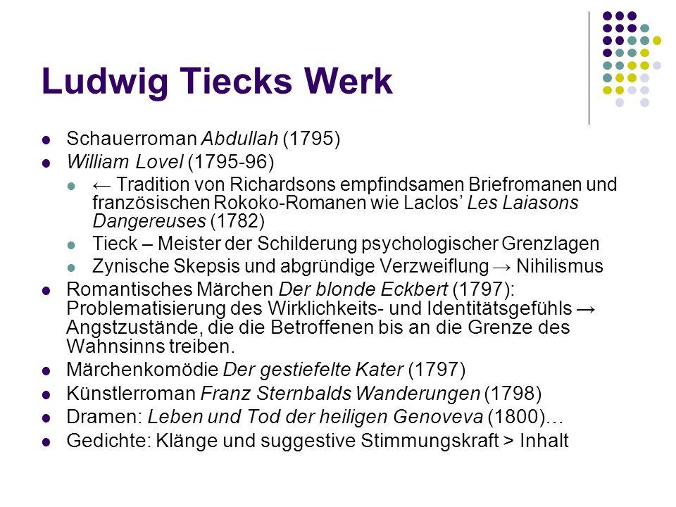 Ludwig Tiecks Werk Schauerroman Abdullah (1795) William Lovel (1795-96) Tradition von Richardsons empfindsamen Briefromanen und französischen Rokoko-R