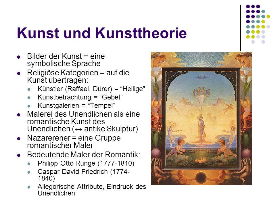 Kunst und Kunsttheorie Bilder der Kunst = eine symbolische Sprache Religiöse Kategorien – auf die Kunst übertragen: Künstler (Raffael, Dürer) = Heilig