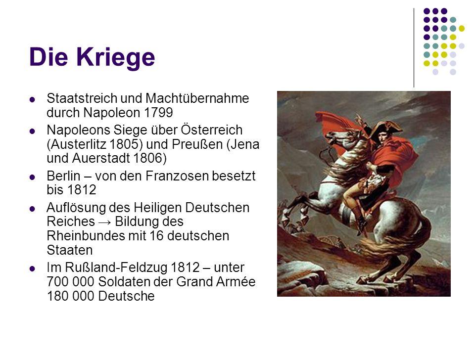Die Kriege Staatstreich und Machtübernahme durch Napoleon 1799 Napoleons Siege über Österreich (Austerlitz 1805) und Preußen (Jena und Auerstadt 1806)
