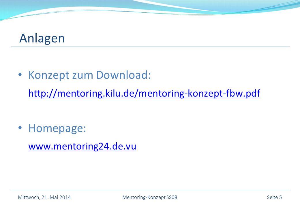 Konzept zum Download: http://mentoring.kilu.de/mentoring-konzept-fbw.pdf Homepage: www.mentoring24.de.vu Mittwoch, 21.