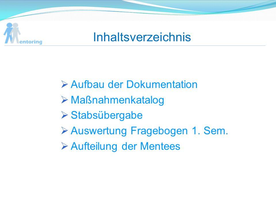 Inhaltsverzeichnis Aufbau der Dokumentation Maßnahmenkatalog Stabsübergabe Auswertung Fragebogen 1. Sem. Aufteilung der Mentees