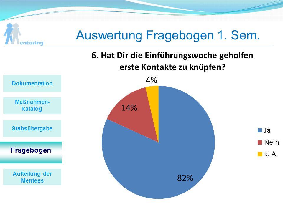 Auswertung Fragebogen 1. Sem. Maßnahmen- katalog Fragebogen Stabsübergabe Dokumentation Aufteilung der Mentees